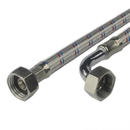 """MEREO - Připojovací hadice 10x14, FxF, 3/4""""x3/4"""" s kolínkem, 500 cm, nerez opletení (CR512E)"""