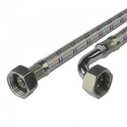 """MEREO - Připojovací hadice 10x14, FxF, 3/4""""x3/4"""" s kolínkem, 250 cm, nerez opletení (CR550E)"""