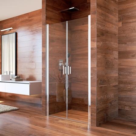 MEREO - Sprchové dveře, Lima, dvoukřídlé, lítací, 80x190 cm, chrom ALU, sklo Čiré (CK80513K)
