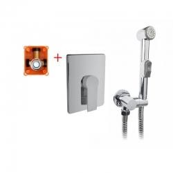 MEREO - Podomítková baterie s bidetovou sprchou, Dita, Mbox, hranatý kryt, chrom (CBE60105DBS)