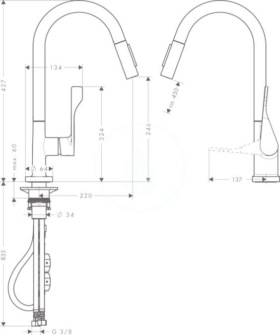 AXOR - Citterio Dřezová baterie s výsuvnou sprškou, chrom (39835000)