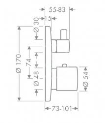 AXOR - Uno Termostatická baterie pod omítku s uzavíracím a přepínacím ventilem, chrom (38720000), fotografie 4/2