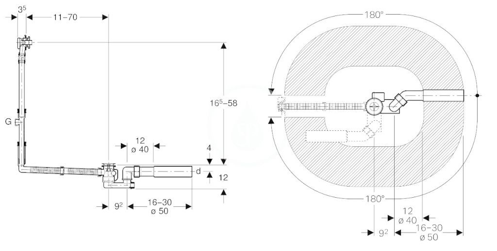 GEBERIT - Příslušenství Odtoková a přepadová souprava pro vanu, s otočným ovládáním, speciální velikost (150.505.00.1)