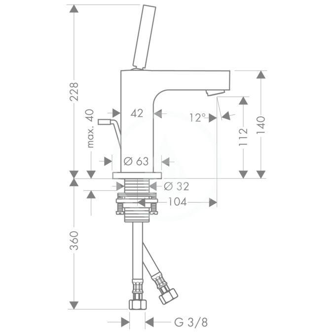 AXOR - Citterio Páková umyvadlová baterie s výpustí, chrom (39010000)