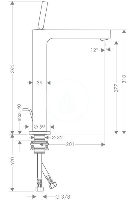 AXOR - Citterio Páková umyvadlová baterie s výpustí, chrom (39020000)