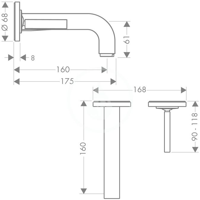 AXOR - Citterio Umyvadlová baterie pod omítku, chrom (39113000)