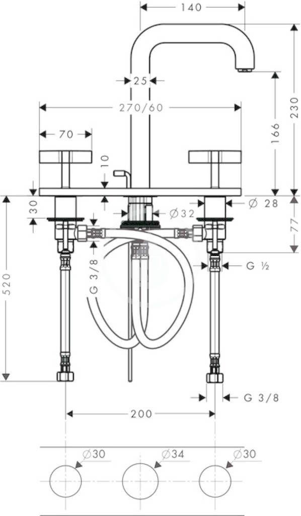 AXOR - Citterio Tříotvorová umyvadlová baterie, chrom (39134000)