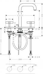 AXOR - Citterio Tříotvorová umyvadlová baterie, chrom (39134000), fotografie 2/3