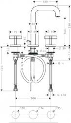 AXOR - Citterio Tříotvorová umyvadlová baterie, chrom (39133000), fotografie 2/2