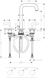 AXOR - Citterio Tříotvorová umyvadlová baterie, chrom (39135000), fotografie 4/4