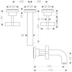 AXOR - Citterio Tříotvorová umyvadlová baterie pod omítku, chrom (39313000), fotografie 4/2