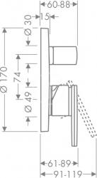 AXOR - Citterio Vanová podomítková baterie, chrom (39455000), fotografie 6/3