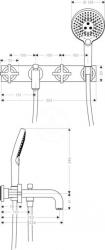 AXOR - Citterio Tříotvorová vanová baterie pod omítku, chrom (39441000), fotografie 6/3