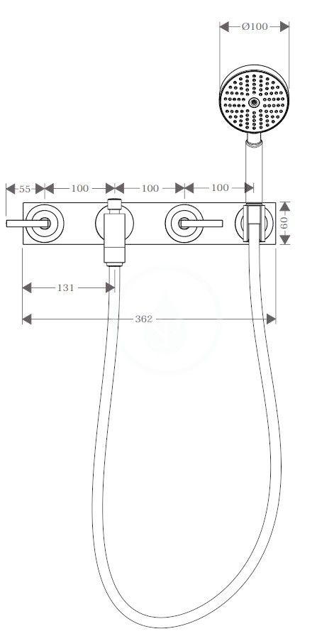 AXOR - Citterio Tříotvorová vanová baterie pod omítku, chrom (39442000)