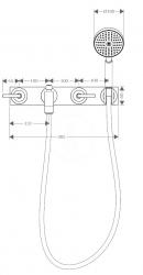 AXOR - Citterio Tříotvorová vanová baterie pod omítku, chrom (39442000), fotografie 4/2