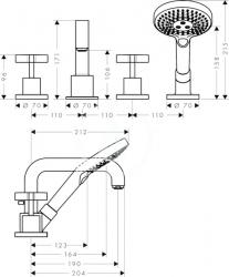 AXOR - Citterio Vanová baterie, 4-otvorová instalace, chrom (39445000), fotografie 6/3