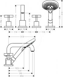 AXOR - Citterio Vanová baterie, 4-otvorová instalace, chrom (39453000), fotografie 4/2
