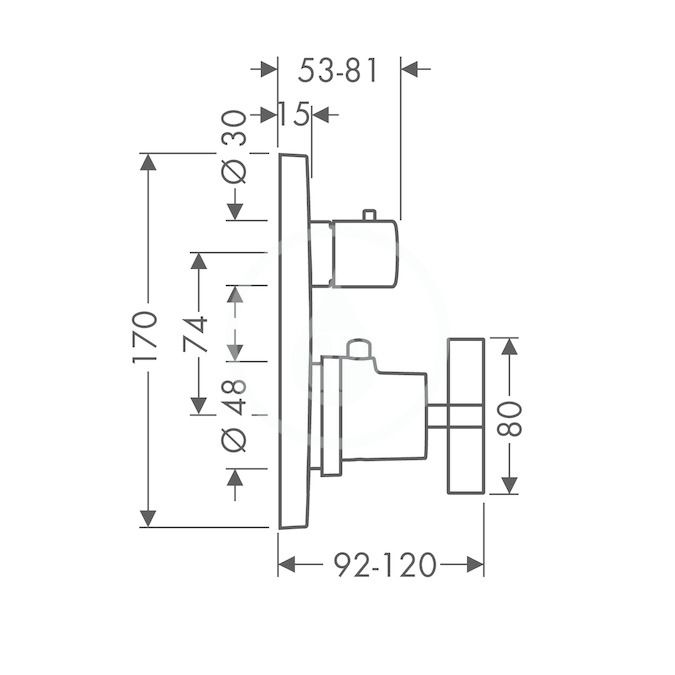 AXOR - Citterio Termostatická baterie pod omítku s uzavíracím ventilem, chrom (39705000)
