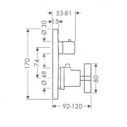 AXOR - Citterio Termostatická baterie pod omítku s uzavíracím ventilem, chrom (39705000), fotografie 2/2