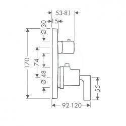 AXOR - Citterio Termostatická baterie pod omítku s uzavíracím ventilem, chrom (39700000), fotografie 2/2