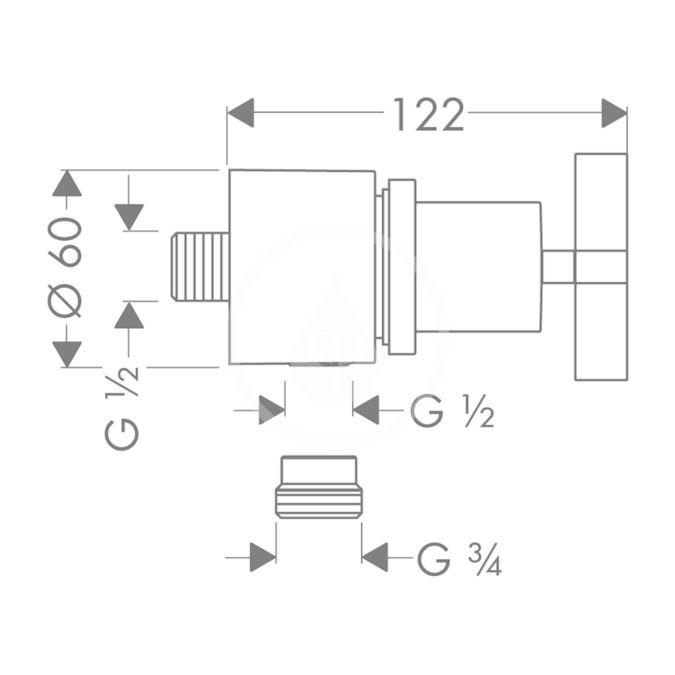 AXOR - Citterio Fixfit Stop, uzavírací ventil, chrom (39883000)