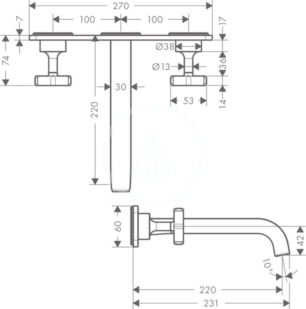 AXOR - Citterio E Tříotvorová umyvadlová baterie pod omítku, chrom (36115000)