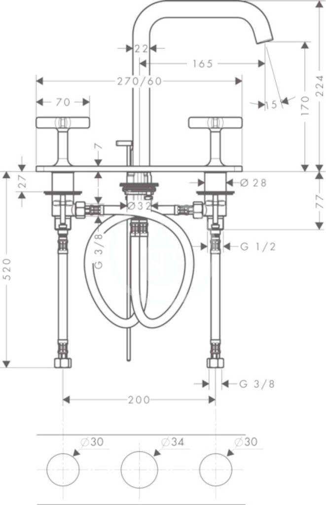 AXOR - Citterio E Tříotvorová umyvadlová baterie, chrom (36116000)
