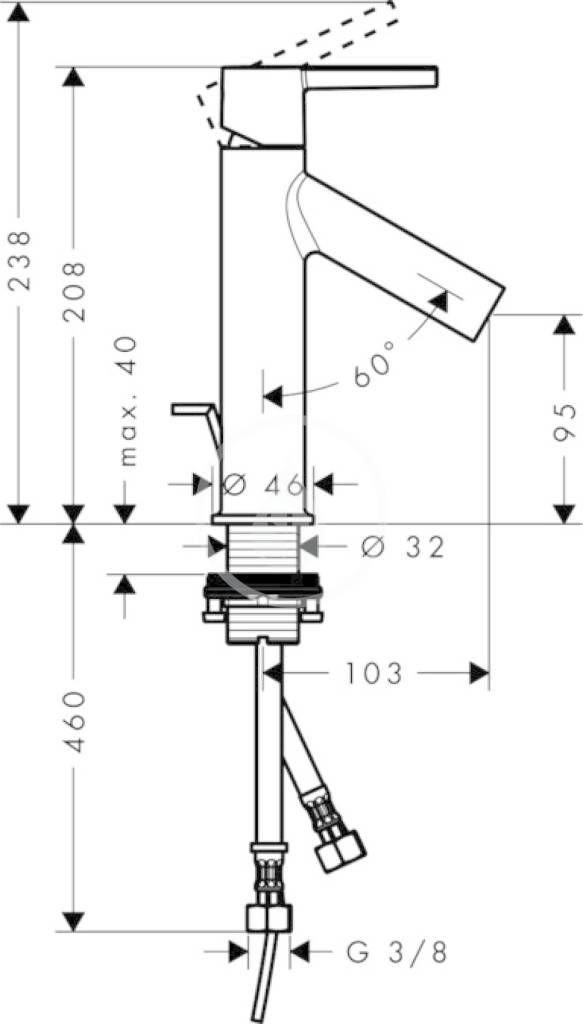 AXOR - Starck Páková umyvadlová baterie 210, CoolStart, chrom (10007000)