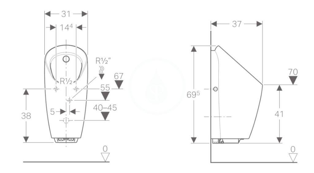 GEBERIT - Pisoáry Pisoár Preda s integrovaným ovládáním, napájení z generátoru, bílá (116.074.00.1)