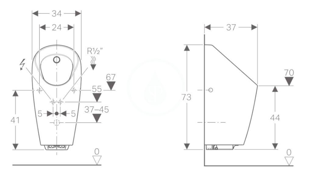 GEBERIT - Pisoáry Pisoár Selva s integrovaným ovládáním, napájení ze sítě, bílá (116.082.00.1)