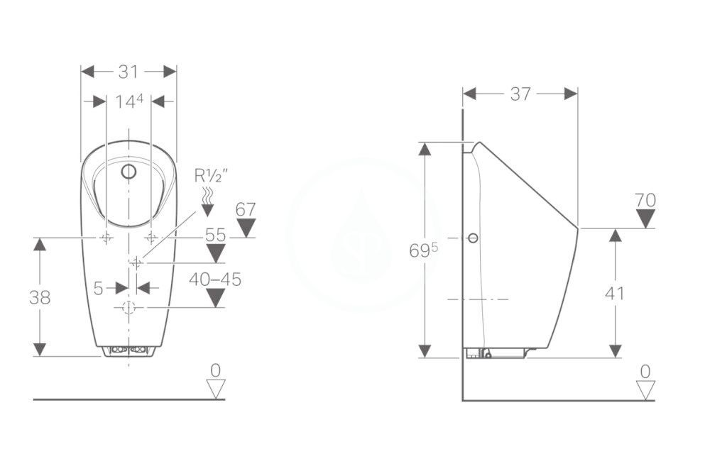 GEBERIT - Pisoáry Pisoár Preda s integrovaným ovládáním, napájení z baterie, bílá (116.073.00.1)