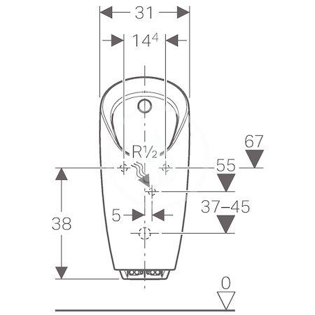GEBERIT - Pisoáry Pisoár Preda pro integrované ovládání, bílá (116.075.00.1)