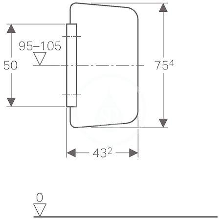GEBERIT - Příslušenství Pisoárová dělící stěna, sklo bílé (115.211.TD.1)