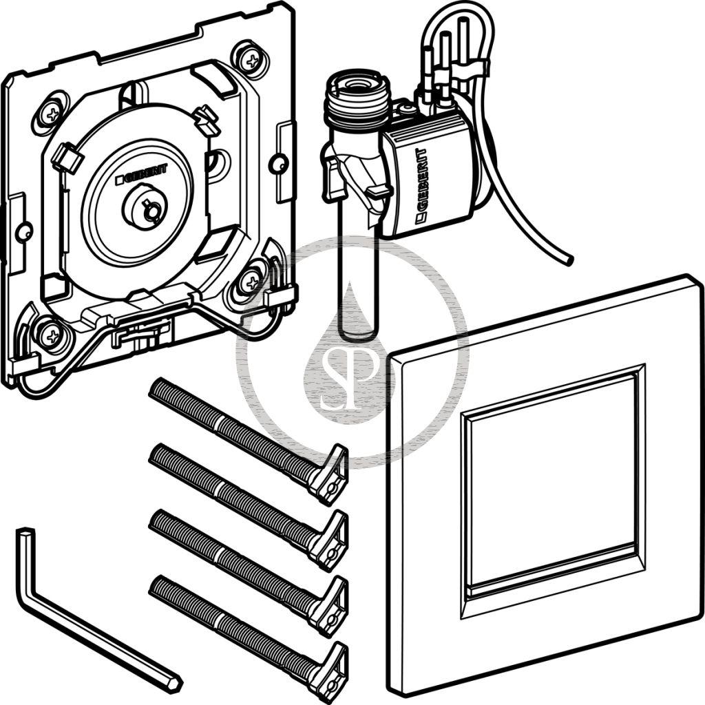 GEBERIT - Splachovací systémy Pneumatické ovládání splachování pisoárů Typ 30, matný chrom/lesklý chrom (116.017.KN.1)