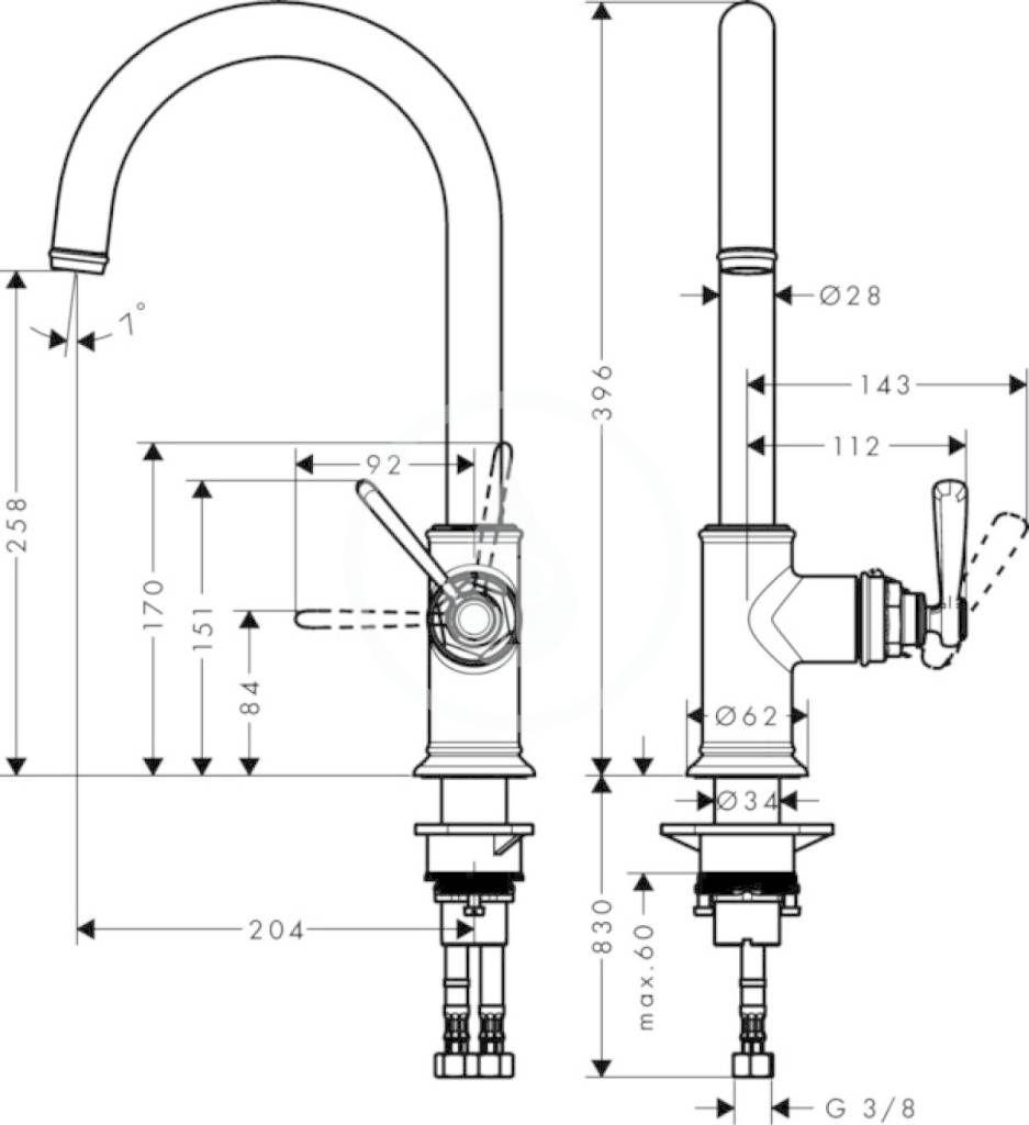 AXOR - Montreux Páková kuchyňská baterie, chrom (16580000)
