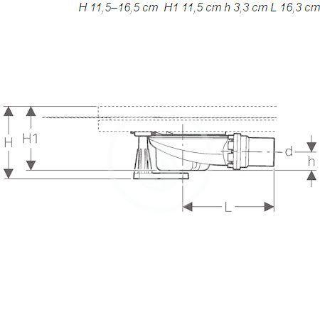 GEBERIT - Setaplano Sprchová odpadní souprava se 4 nožičkami, pro sprchovou vaničku Setaplano, výška vodního uzávěru 50 mm (154.010.00.1)