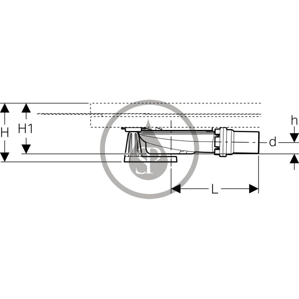 GEBERIT - Setaplano Souprava pro hrubou montáž ke sprchové vaničce, výška vodního uzávěru 30 mm, d40 mm, 6 noh (154.021.00.1)