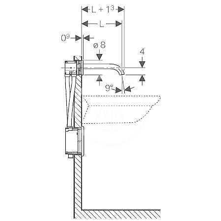 GEBERIT - Piave Elektronická umyvadlová baterie Piave pod omítku, bez směšovače, délka 220 mm, napájení z generátoru, chrom (116.285.21.1)