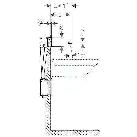 GEBERIT - Brenta Elektronická umyvadlová baterie Brenta pod omítku, bez směšovače, délka 220 mm, síťové napájení, chrom (116.291.21.1)