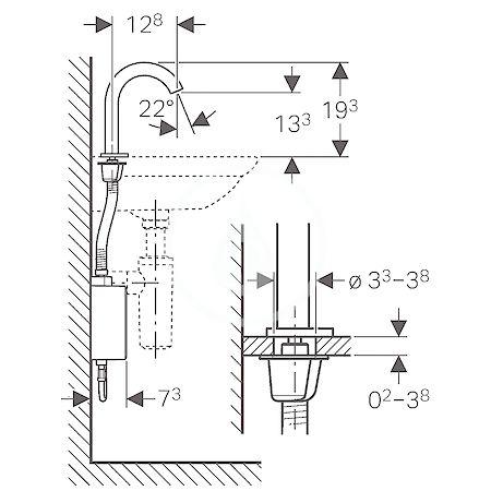 GEBERIT - Piave Elektronická umyvadlová baterie, bez směšovače, bateriové napájení, chrom (116.163.21.1)
