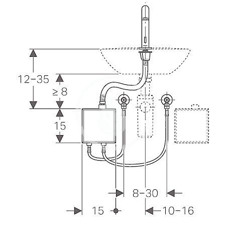 GEBERIT - Piave Elektronická umyvadlová baterie, bez směšovače, napájení z generátoru, chrom (116.165.21.1)