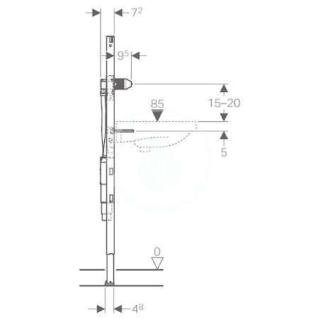 GEBERIT - Duofix Montážní prvek pro umyvadlo, 130 cm, pro nástěnnou baterii s funkčním boxem a zápachovou úzávěrkou pod omítku (111.561.00.1)