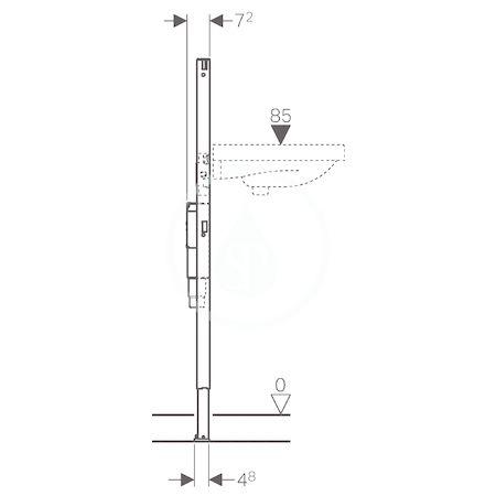 GEBERIT - Duofix Montážní prvek pro umyvadlo, 112 cm, stojánková armatura s funkčním boxem pod omítku, se zápachovou uzávěrkou pod omítku (111.556.00.1)