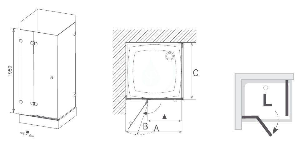 RAVAK - Brilliant Sprchový kout BSDPS-100/100 L, 983-995x983-995 mm, chrom/čiré sklo (0ULA0A00Z1)