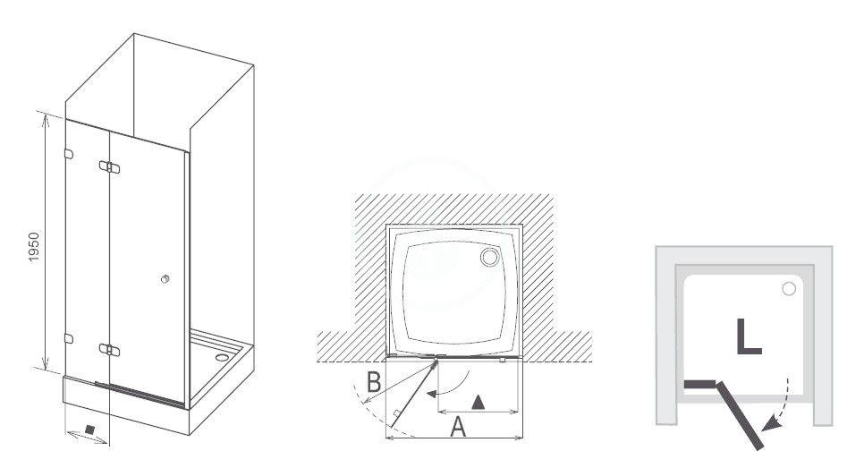 RAVAK - Brilliant Sprchové dveře dvoudílné BSD2-90 L, 890-905 mm, levé, chrom/čiré sklo (0UL7AA00Z1)