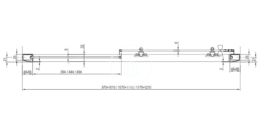 RAVAK - Blix Sprchové dveře dvoudílné BLDP2-100, 970-1010 mm, bílá/sklo Grape (0PVA0100ZG)