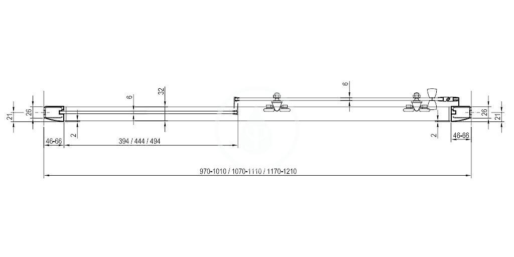 RAVAK - Blix Sprchové dveře dvoudílné BLDP2-100, 970-1010 mm, lesklý hliník/sklo Grape (0PVA0C00ZG)