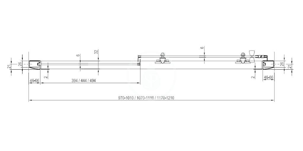 RAVAK - Blix Sprchové dveře BLDP2-110, 1070-1110 mm, lesklý hliník/čiré sklo (0PVD0C00Z1)