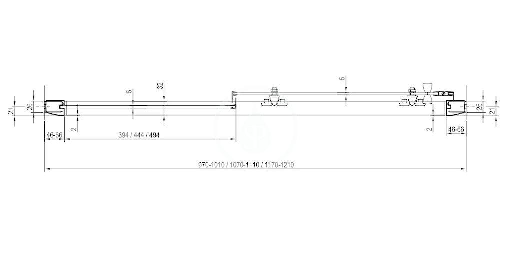 RAVAK - Blix Sprchové dveře BLDP2-120, 1170-1210 mm, lesklý hliník/čiré sklo (0PVG0C00Z1)