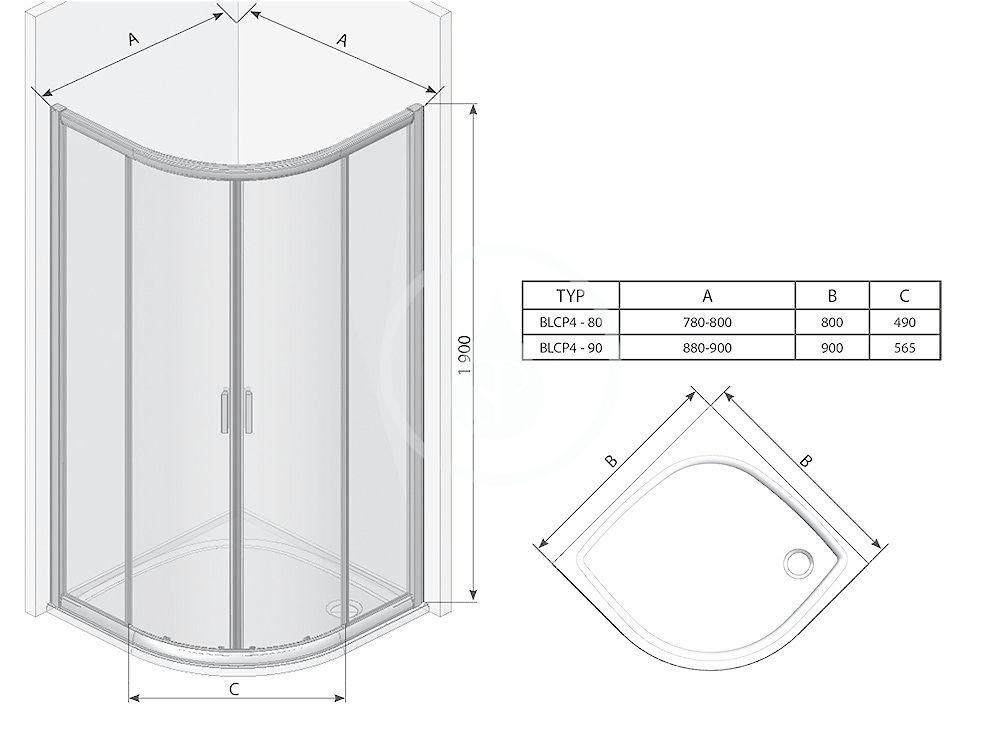 RAVAK - Blix Čtvrtkruhový sprchový kout čtyřdílný BLCP4-90, 880-900 mm, satin/sklo Grape (3B270U00ZG)
